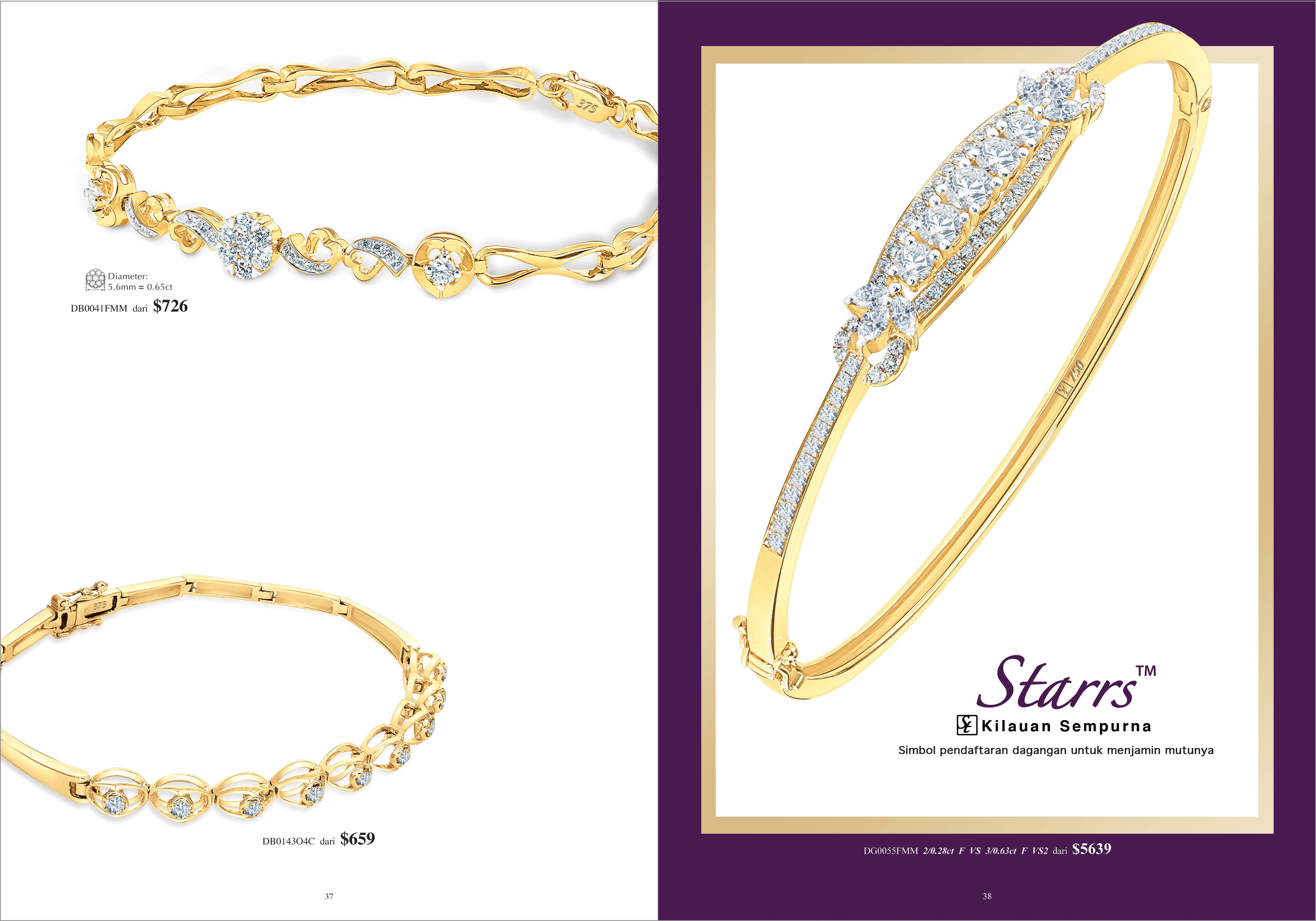 Ming Seng starrs diamond bangle bracelets